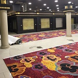 Laying carpet with design